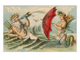 Neptune Sporting with Mermaid, Illustration Prints