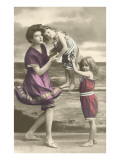 Mother and Two Children by Shore Posters