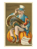 Old Uncle Sam with Turkey Posters