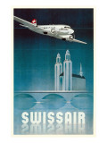 Swissair : affiche vintage de la compagnie a&#233;rienne Affiches