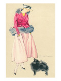 Fashionable Woman with Pomeranian Print