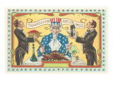 Thanksgiving Greetings, Uncle Sam Waited Upon Prints