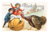 Greetings, Children with Turkey and Pumpkin Posters