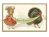Turkey and Dressed-Up Girl Poster