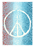 Red White and Blue Peace Sign Art