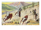 Cowboys Roping Cattle Posters