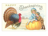 Children, Turkey and Pumpkin Posters