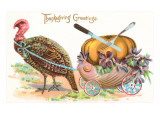 Greetings, Turkey Hauling Pumpkin Posters