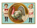 Greetings, Children with Turkey Posters