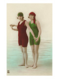 Two Ladies in Green and Red Bathing Suits Prints