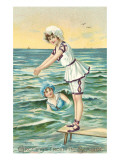 Greetings from the Seaside, Two Victorian Girls Prints