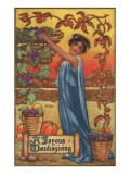 Greek Maiden Picking Grapes Poster