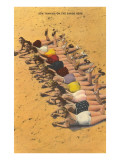Eleven Bathing Beauties Lying on Sand Poster