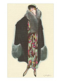 Smiling Lady with Fur-Trimmed Coat Prints