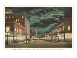 Moon over Houston Street, Fort Worth, Texas Posters