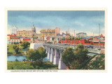 Colorado River Bridge and Austin, Texas Skyline Print