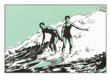 Woodcut of Surfers Posters