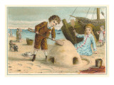 Victorian Children with Sand Castle Print