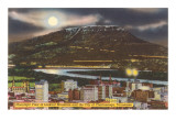 Moon over Chattanooga, Tennessee Prints