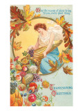 Greetings, Lady with Cornucopia Posters