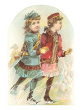 Two Victorian Girls Ice Skating Prints