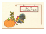 Happy Thanksgiving, Pilgrim Boy with Turkey Prints