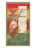 Pagoda, Heron and Frog Posters