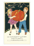 Boy and Girl with Pumpkin Prints