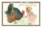 Good Wishes for Thanksgiving Day, Little Girl and Turkey Posters