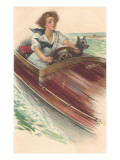 Girl in Motorboat with Terrier Prints