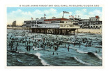Bath House and Beach, Galveston, Texas Prints