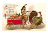 Greetings, Indian Maiden with Turkey Cart Prints