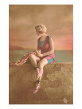 Woman in Extensive Bathing Suit with Ballet Slippers Posters