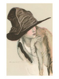 Woman in Hat Print