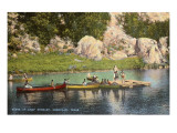Canoes at Camp Steward, Kerrville, Texas Prints