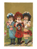 Three French Girls with Dolls Print