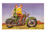 Couple on Motorcycle Affiches
