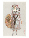 Woman in Droopy Hat, Fashion Illustration Photo