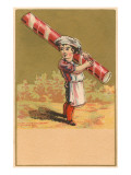Victorian Baker Boy with Giant Peppermint Stick Art