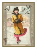 Victorian Girl Ice Skating Prints