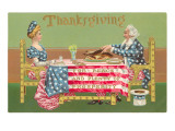 Uncle and Aunt Sam Cutting Turkey Poster