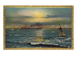 Framed Seascape with Steamship and Sailboat Posters