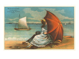 Victorian Couple on Beach with Umbrella Posters