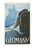 Train by Rhine Castle, Germany Posters