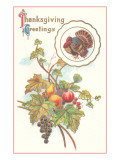 Thanksgiving Greetings, Turkey and Fruits Prints