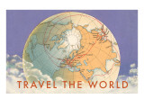 Travel the World, Globe with Routes Plakater