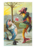 Two Fashionable Fish Meet on the Street Poster