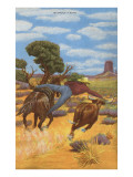 Cowboy Steer-Wrestling Art