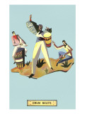 Drum Beats, Stylized Latin Drummers Poster