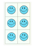 Six Blue Happy Faces Prints